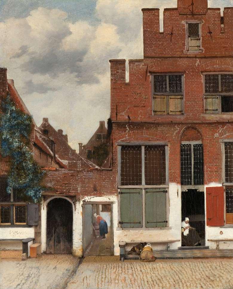 油絵 油彩画 絵画 複製画 ヨハネス・フェルメール デルフトの小道 F10サイズ F10号 530x455mm すぐに飾れる豪華額縁付きキャンバス