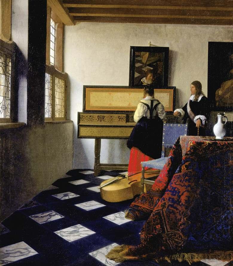 油絵 油彩画 絵画 複製画 ヨハネス・フェルメール ヴァージナルの前の二人(音楽の稽古) F10サイズ F10号 530x455mm すぐに飾れる豪華額縁付きキャンバス