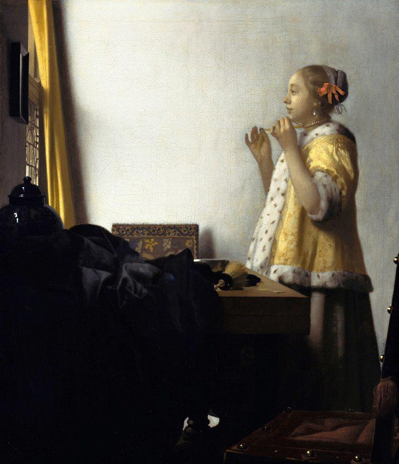ヨハネス・フェルメール 真珠の首飾りの女 F30サイズ F30号 910x727mm 条件付き送料無料  額縁付絵画 インテリア 額入り 壁掛け複製油絵 ヨハネス・フェルメール