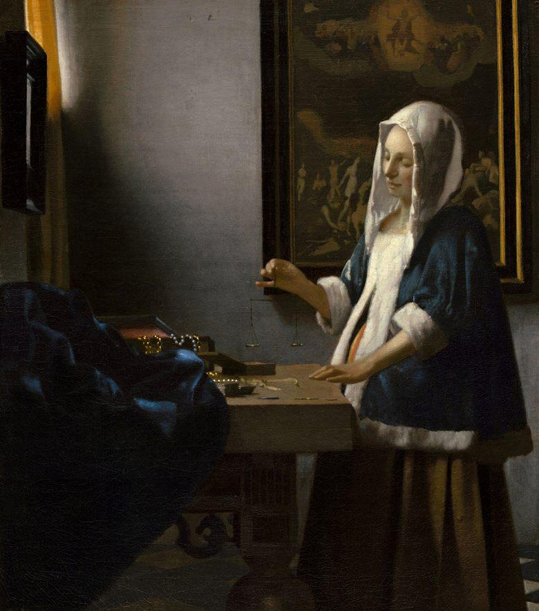 絵画 インテリア 額入り 壁掛け複製油絵 ヨハネス・フェルメール 真珠を量る女 F20サイズ F20号 727x606mm 絵画 インテリア 額入り 壁掛け 油絵