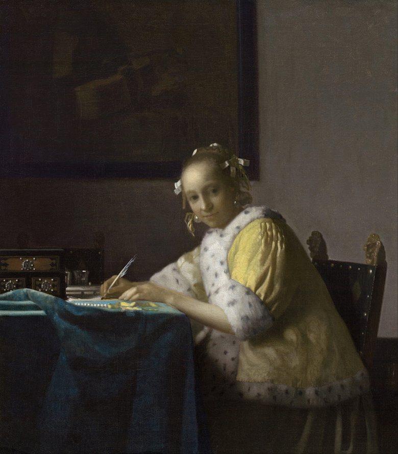 油絵 油彩画 絵画 複製画 ヨハネス・フェルメール 手紙を書く女 F10サイズ F10号 530x455mm すぐに飾れる豪華額縁付きキャンバス