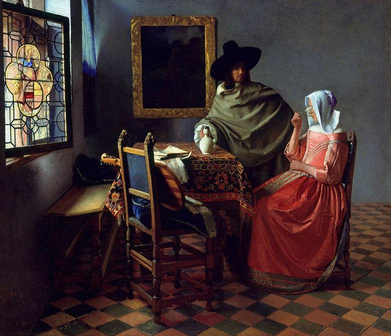 油絵 油彩画 絵画 複製画 ヨハネス・フェルメール 紳士とワインを飲む女(ブドウ酒のグラス) F10サイズ F10号 530x455mm すぐに飾れる豪華額縁付きキャンバス
