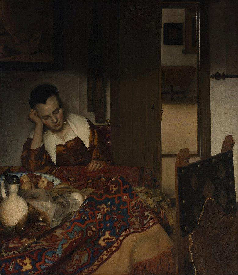 絵画 インテリア 額入り 壁掛け複製油絵 ヨハネス・フェルメール 眠る女 F20サイズ F20号 727x606mm 絵画 インテリア 額入り 壁掛け 油絵