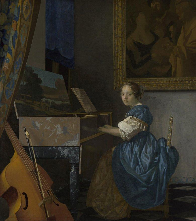 油絵 油彩画 絵画 複製画 ヨハネス・フェルメール ヴァージナルの前に座る女性 F10サイズ F10号 530x455mm すぐに飾れる豪華額縁付きキャンバス