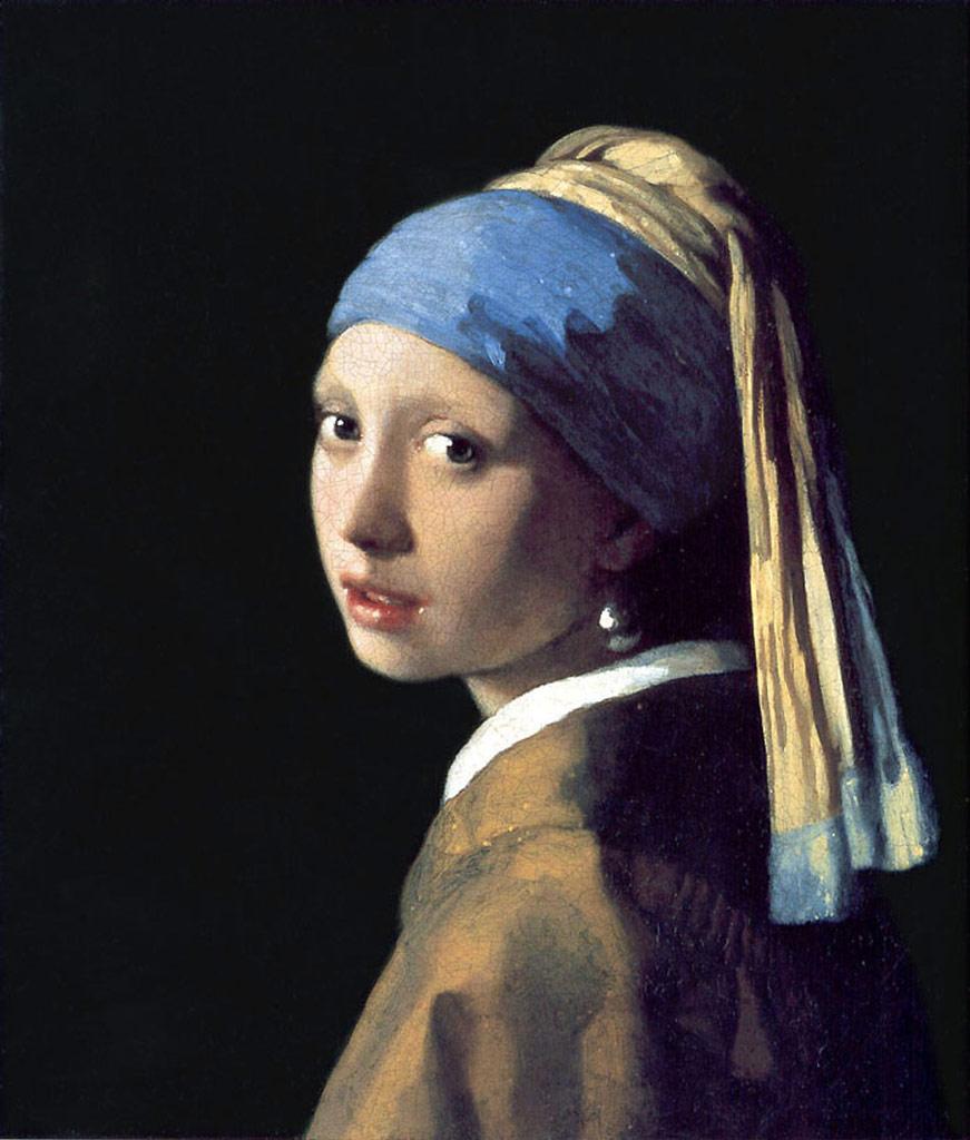 【送料無料】絵画 油彩画複製油絵複製画/ ヨハネス・フェルメール 真珠の耳飾の少女(青いターバンの少女) F15サイズ 808x686mm 【すぐに飾れる豪華額縁付 キャンバス】