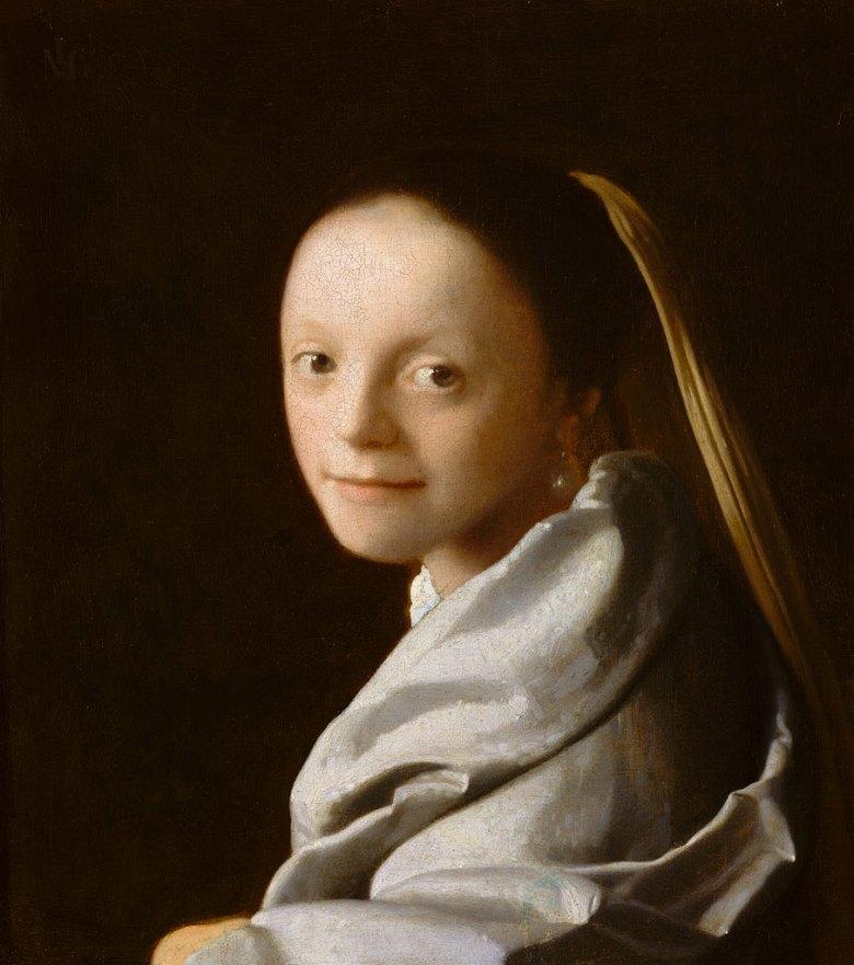 油絵 油彩画 絵画 複製画 ヨハネス・フェルメール 少女の頭部 F10サイズ F10号 530x455mm すぐに飾れる豪華額縁付きキャンバス