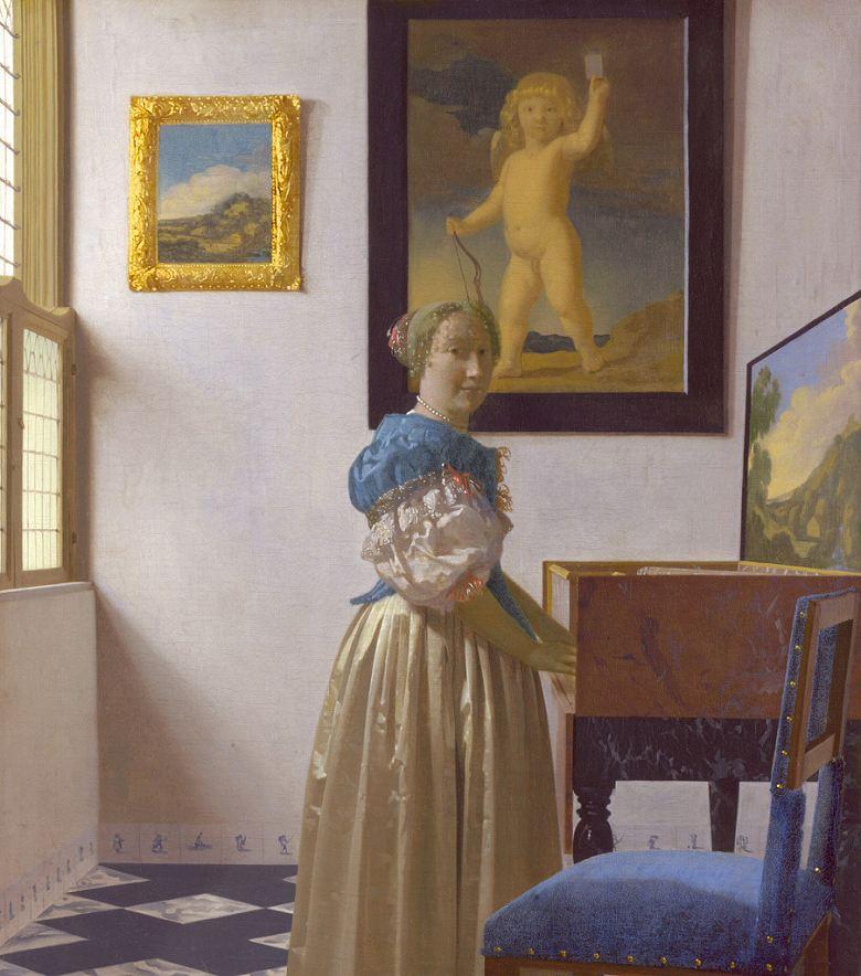 絵画 インテリア 額入り 壁掛け複製油絵 ヨハネス・フェルメール ヴァージナルの前に立つ女性 F20サイズ F20号 727x606mm 絵画 インテリア 額入り 壁掛け 油絵