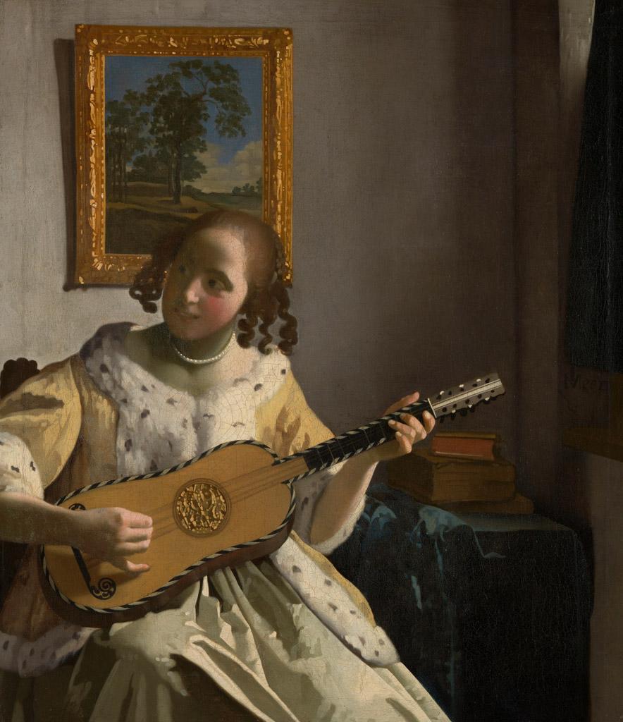 【送料無料】絵画 油彩画複製油絵複製画/ ヨハネス・フェルメール ギターを弾く女 F15サイズ 808x686mm 【すぐに飾れる豪華額縁付 キャンバス】