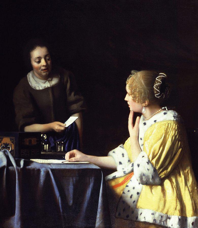 油絵 油彩画 絵画 複製画 ヨハネス・フェルメール 婦人と召使い F10サイズ F10号 530x455mm すぐに飾れる豪華額縁付きキャンバス