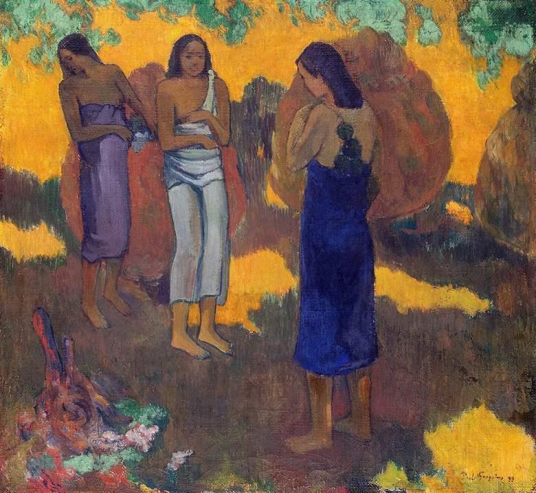 油絵 油彩画 絵画 複製画 ポール・ゴーギャン 黄色の背景の三人のタヒチ女 F10サイズ F10号 530x455mm すぐに飾れる豪華額縁付きキャンバス