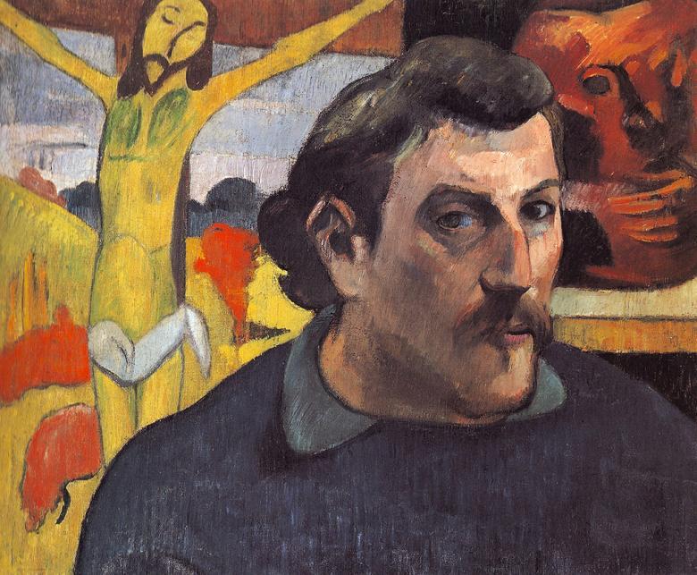 油絵 ポール・ゴーギャン 黄色いキリストのある自画像 F12サイズ F12号 606x500mm 油彩画 絵画 複製画 選べる額縁 選べるサイズ