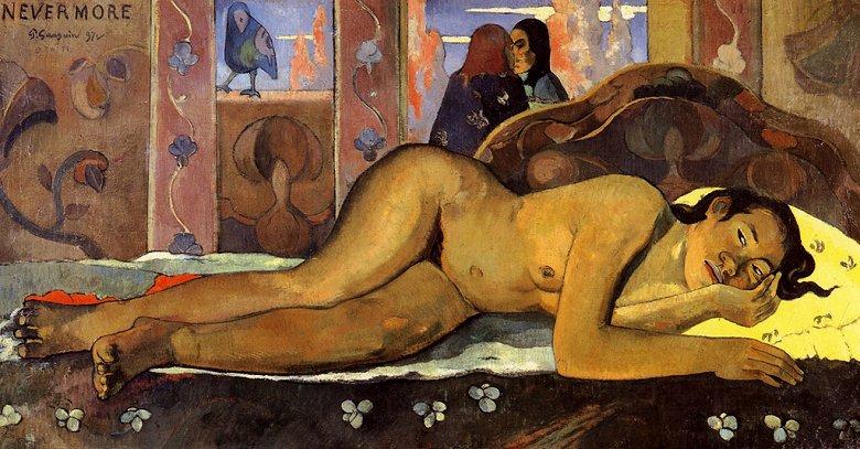 油絵 油彩画 絵画 複製画 ポール・ゴーギャン ネヴァモア(横たわるタヒチの女) F10サイズ F10号 530x455mm すぐに飾れる豪華額縁付きキャンバス