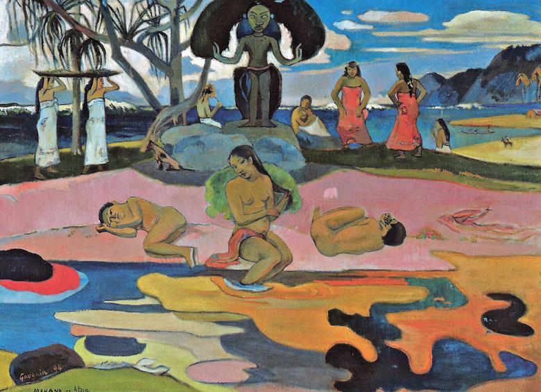 油絵 油彩画 絵画 複製画 ポール・ゴーギャン マハナ・ノ・アトゥア(神の日) P10サイズ P10号 530x410mm すぐに飾れる豪華額縁付きキャンバス