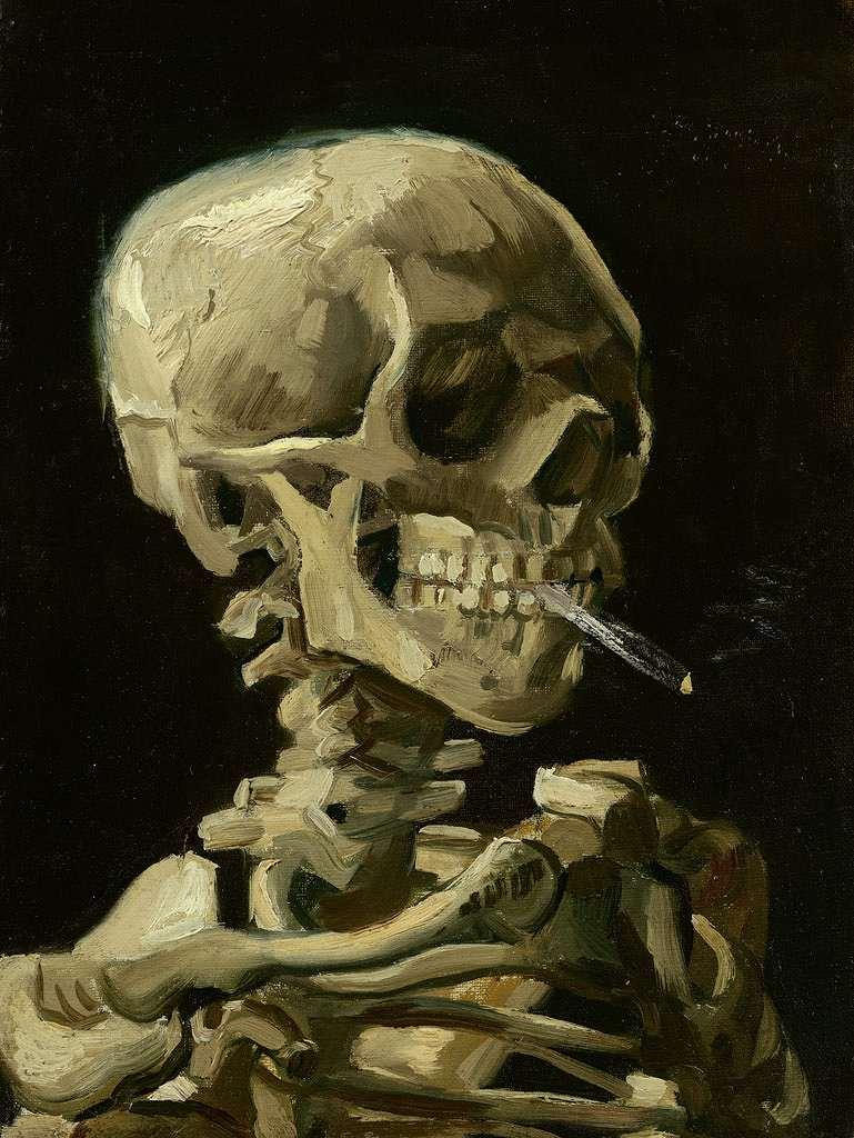 【送料無料】絵画 油彩画複製油絵複製画/ゴッホ 火の付いたタバコをくわえた骸骨 P15サイズ 808x656mm 【すぐに飾れる豪華額縁付 キャンバス】