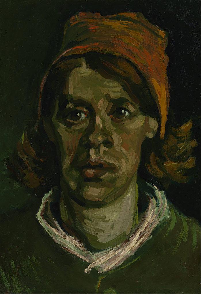 【送料無料】絵画 油彩画 油絵 複製画/ゴッホ 女性の顔 P15サイズ 808x656mm 【すぐに飾れる豪華額縁付 キャンバス】