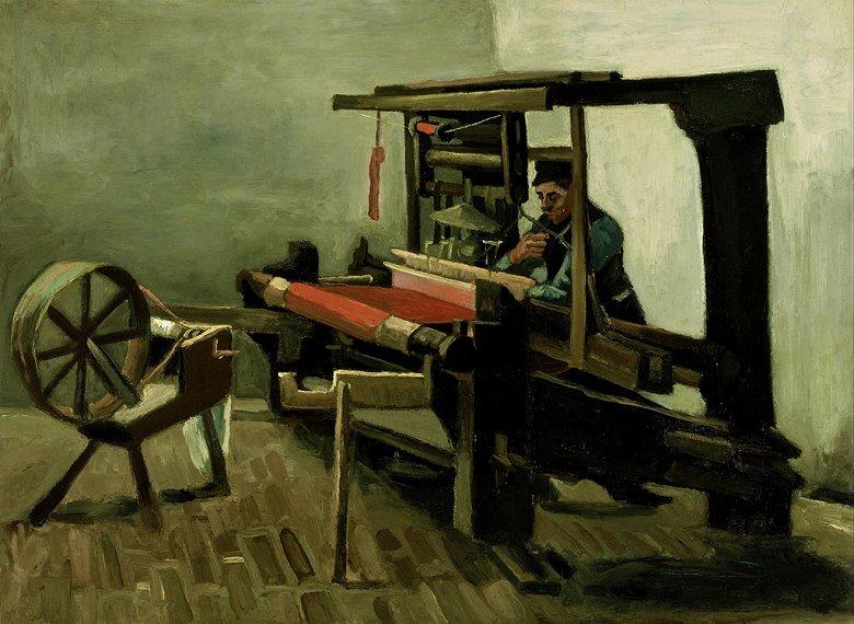 【条件付き送料無料】絵画 油彩画複製油絵複製画/ゴッホ 機織る人と糸車(左向き) P30サイズ 1066x809mm 【条件付き送料無料  額縁付 キャンバス】