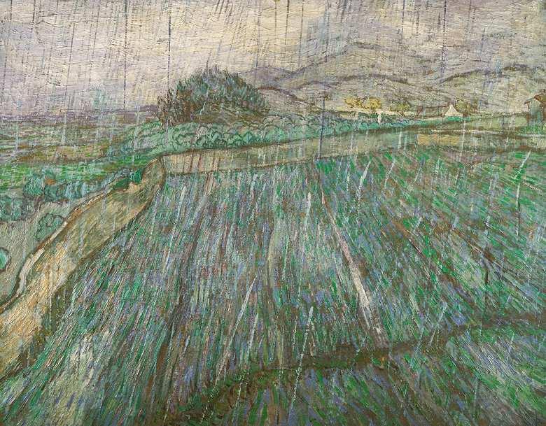 【送料無料】絵画 油彩画複製油絵複製画/ゴッホ 雨の麦畑 F15サイズ 808x686mm 【すぐに飾れる豪華額縁付 キャンバス】