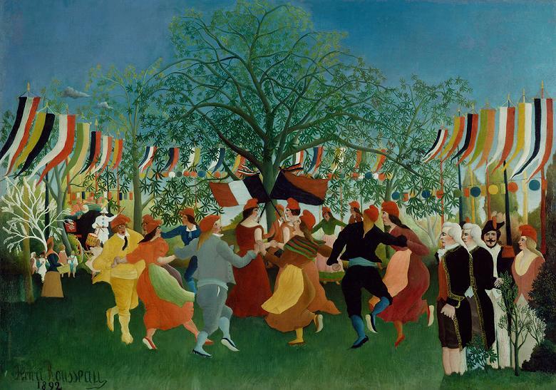 油絵 油彩画 絵画 複製画 アンリ・ルソー 独立百年祭 P10サイズ P10号 530x410mm すぐに飾れる豪華額縁付きキャンバス