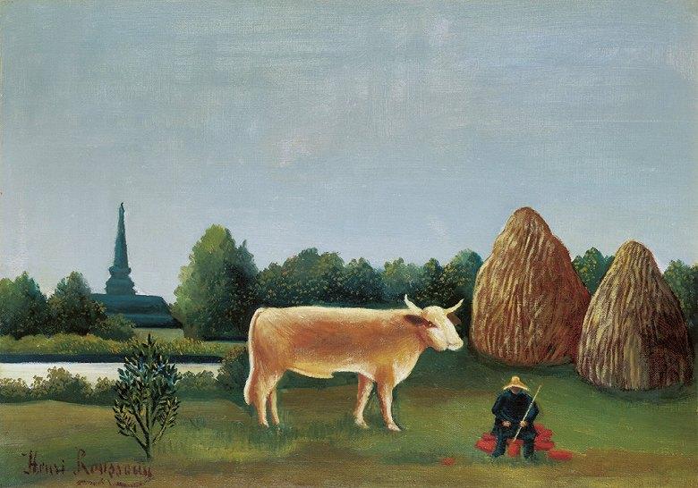 絵画 インテリア 額入り 壁掛け複製油絵アンリ・ルソー 牛のいる風景(パリ近郊の眺め、バニュー村) P15サイズ P15号 652x500mm 油彩画 複製画 選べる額縁 選べるサイズ