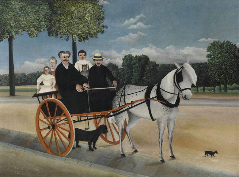 絵画 インテリア 額入り 壁掛け複製油絵アンリ・ルソー ジュニエ爺さんの馬車 P15サイズ P15号 652x500mm 油彩画 複製画 選べる額縁 選べるサイズ