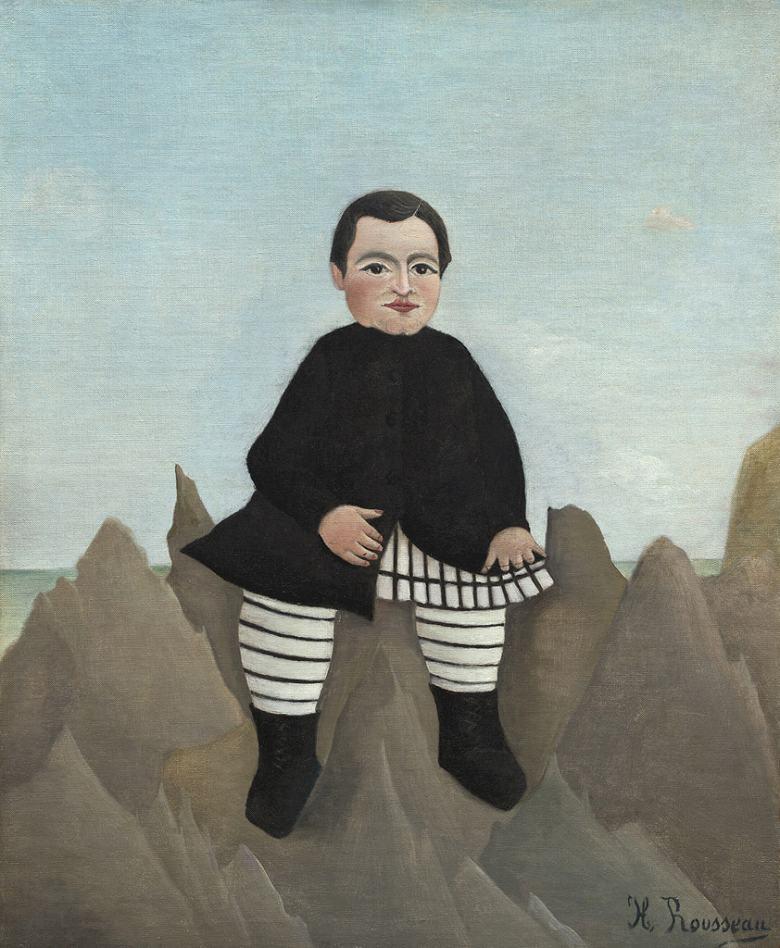 アンリ・ルソー 岩の上の少年 F30サイズ F30号 910x727mm 送料無料  額縁付絵画 インテリア 額入り 壁掛け複製油絵アンリ・ルソー