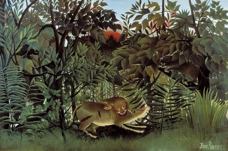 油絵 油彩画 絵画 複製画 アンリ・ルソー 飢えたライオン M10サイズ M10号 530x333mm すぐに飾れる豪華額縁付きキャンバス
