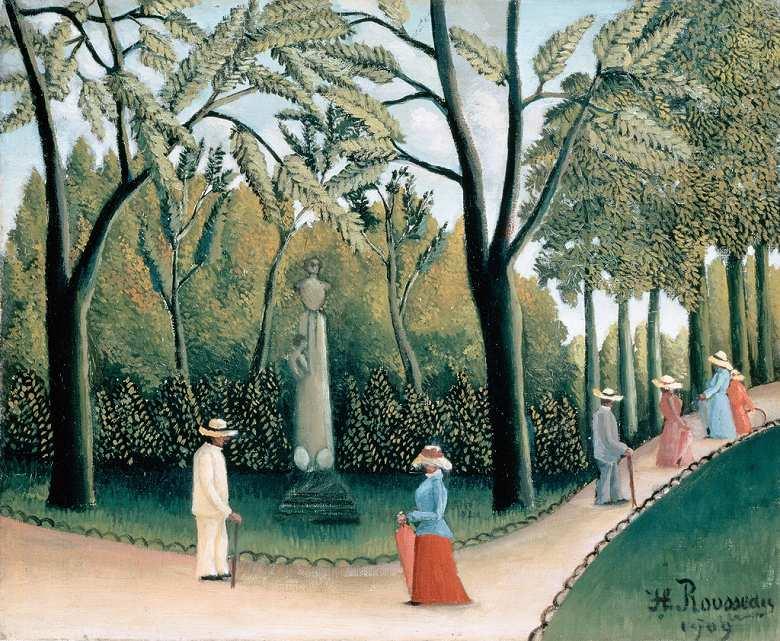 アンリ・ルソー ルクセンブルク公園、ショパン記念碑 F30サイズ F30号 910x727mm 送料無料  額縁付絵画 インテリア 額入り 壁掛け複製油絵アンリ・ルソー