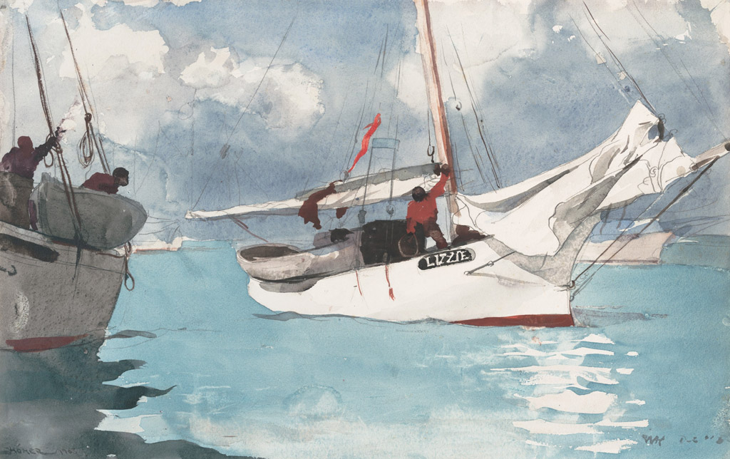【送料無料】絵画 油彩画複製油絵複製画/ウィンスロー・ホーマー キーウェストの釣り船 F10サイズ 686x611mm 【すぐに飾れる豪華額縁付 キャンバス】