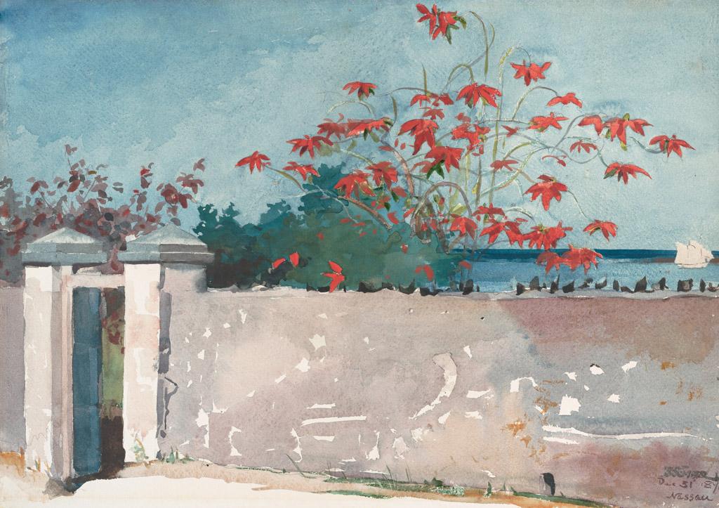 【送料無料】絵画 油彩画複製油絵複製画/ウィンスロー・ホーマー ナッソーの壁 F10サイズ 686x611mm 【すぐに飾れる豪華額縁付 キャンバス】