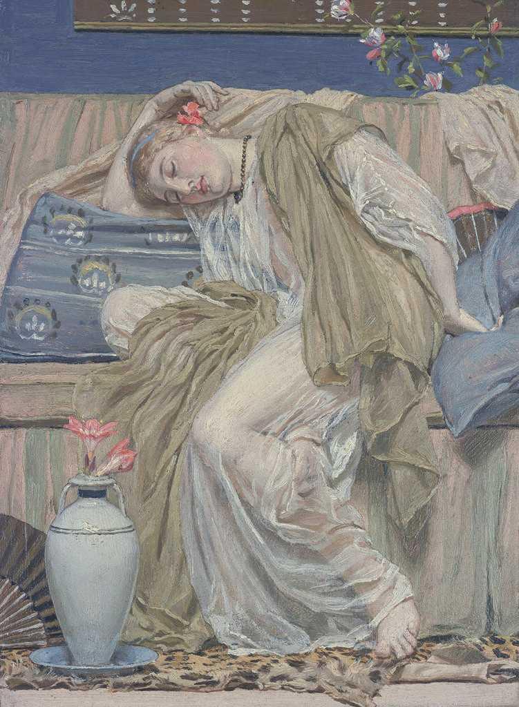 絵画 インテリア 額入り 壁掛け複製油絵アルバート・ジョゼフ・ムーア 眠る女性 P20サイズ P20号 727x530mm 絵画 インテリア 額入り 壁掛け 油絵