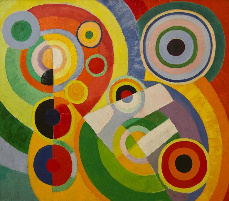 【送料無料】絵画 油彩画複製油絵複製画/ ロベール・ドローネー リズム、生きる喜び F8サイズ F8号 455x380mm すぐに飾れる豪華額縁付きキャンバス