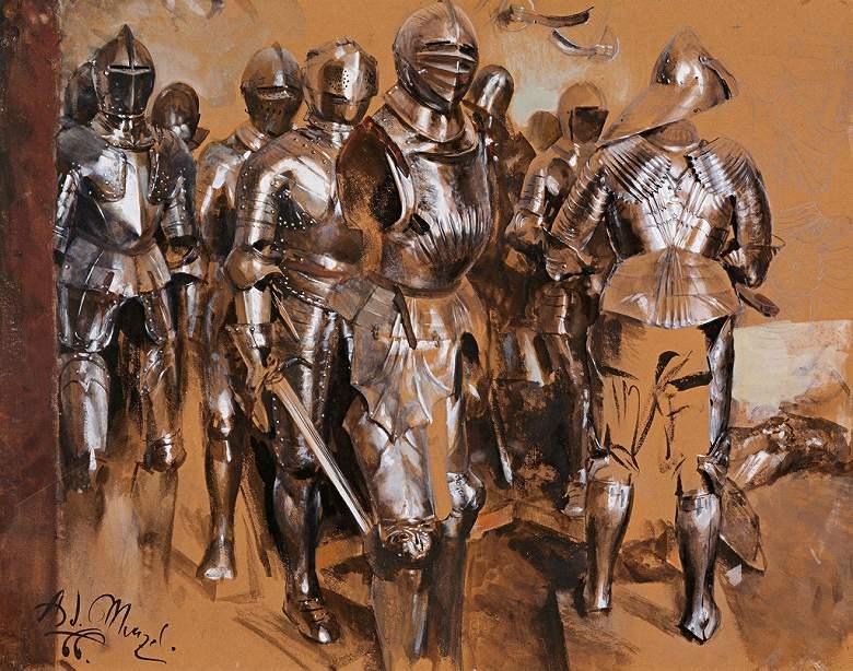 油絵 油彩画 絵画 複製画 アドルフ・メンツェル 武具室の空想 F10サイズ F10号 530x455mm すぐに飾れる豪華額縁付きキャンバス