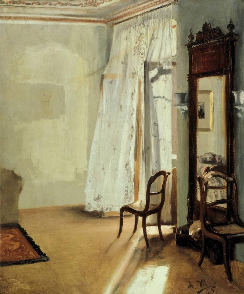 油絵 油彩画 絵画 複製画 アドルフ・メンツェル バルコニールーム F10サイズ F10号 530x455mm すぐに飾れる豪華額縁付きキャンバス