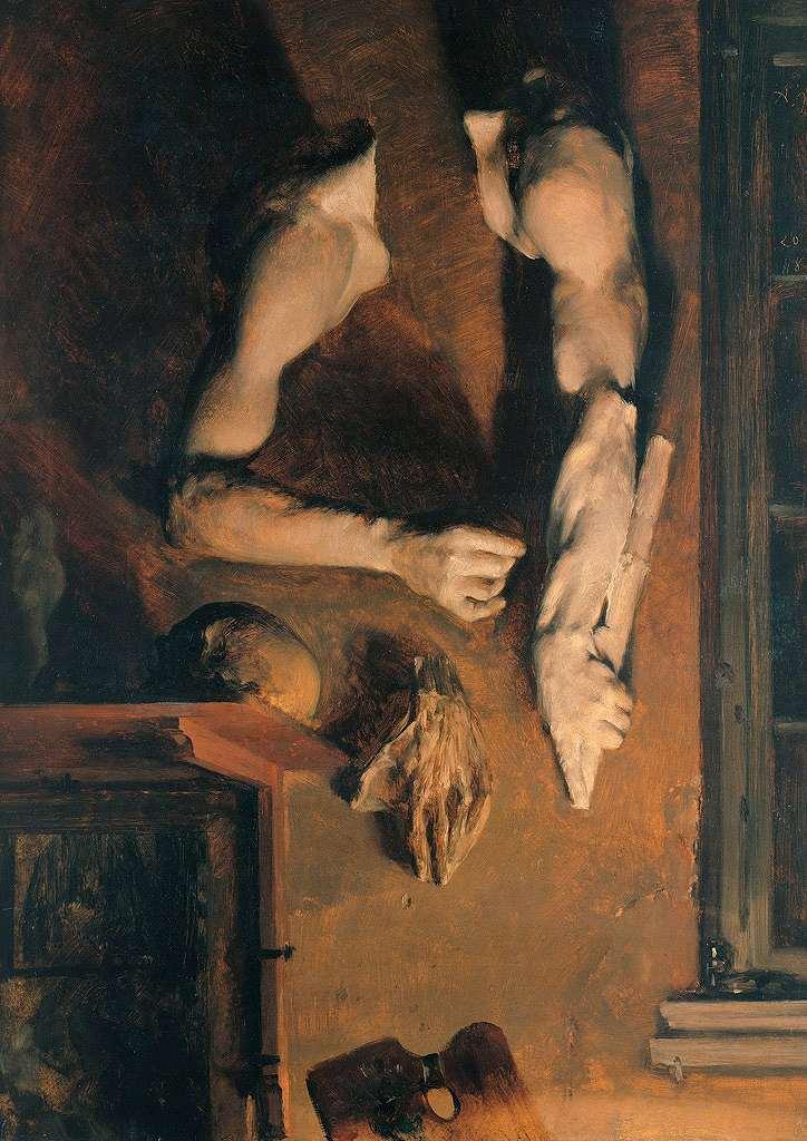 油絵 アドルフ・メンツェル アトリエの壁 P12サイズ P12号 606x455mm 油彩画 絵画 複製画 選べる額縁 選べるサイズ