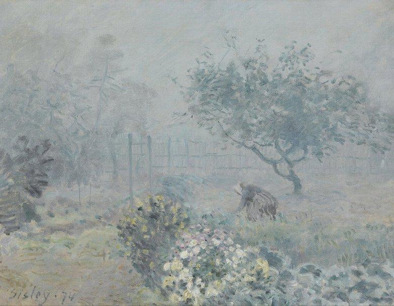 油絵 油彩画 絵画 複製画 アルフレッド・シスレー 霧、ヴワザン F10サイズ F10号 530x455mm すぐに飾れる豪華額縁付きキャンバス
