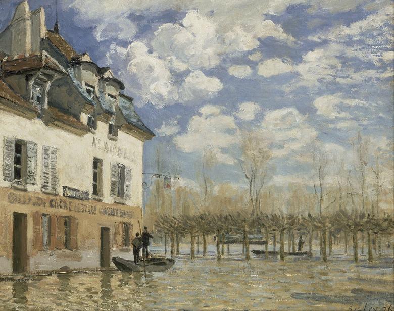 油絵 油彩画 絵画 複製画 アルフレッド・シスレー ポール=マルリの洪水と小舟 F10サイズ F10号 530x455mm すぐに飾れる豪華額縁付きキャンバス