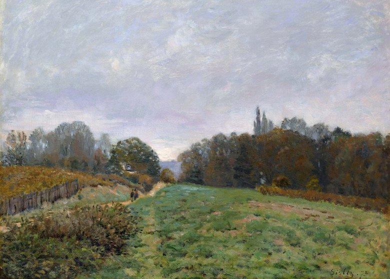 油絵 油彩画 絵画 複製画 アルフレッド・シスレー ルーヴシエンヌの風景 P10サイズ P10号 530x410mm すぐに飾れる豪華額縁付きキャンバス