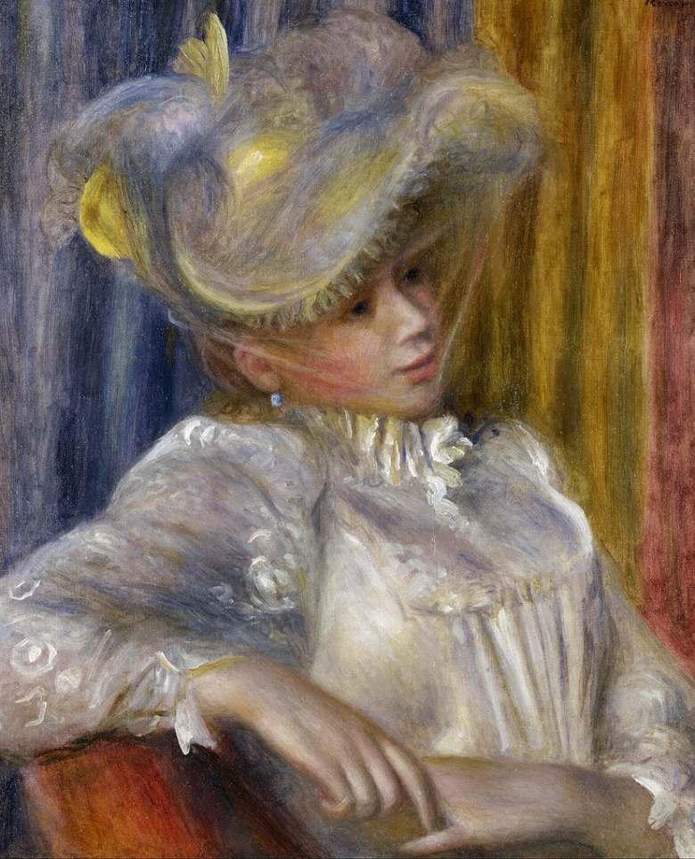 絵画 インテリア 額入り 壁掛け複製油絵ピエール=オーギュスト・ルノワール 帽子の女 F20サイズ F20号 727x606mm 絵画 インテリア 額入り 壁掛け 油絵