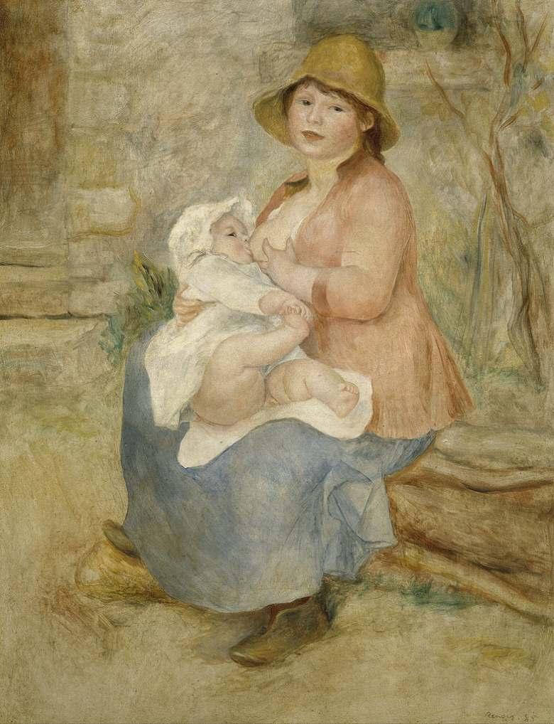 油絵 油彩画 絵画 複製画 ピエール=オーギュスト・ルノワール 授乳する母親 F10サイズ F10号 530x455mm すぐに飾れる豪華額縁付きキャンバス