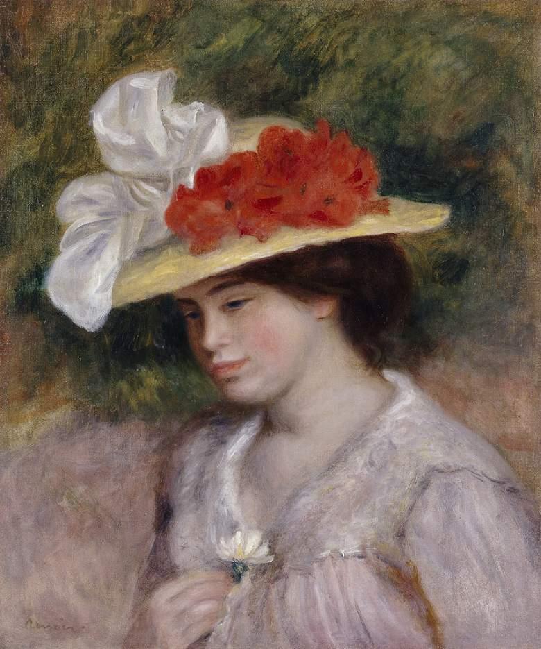 ピエール=オーギュスト・ルノワール 花で飾られた帽子をかぶった女 F30サイズ F30号 910x727mm 条件付き送料無料  額縁付絵画 インテリア 額入り 壁掛け複製油絵ピエール=オーギュスト・ルノワール