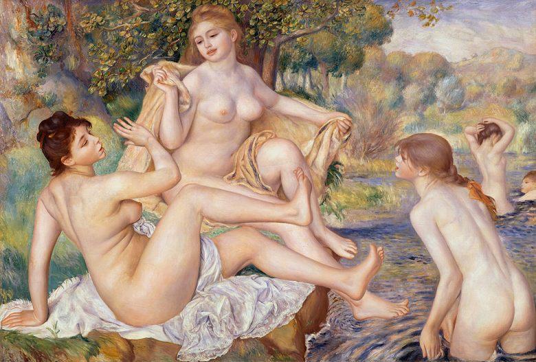 油絵 油彩画 絵画 複製画 ピエール=オーギュスト・ルノワール 大水浴 P10サイズ P10号 530x410mm すぐに飾れる豪華額縁付きキャンバス