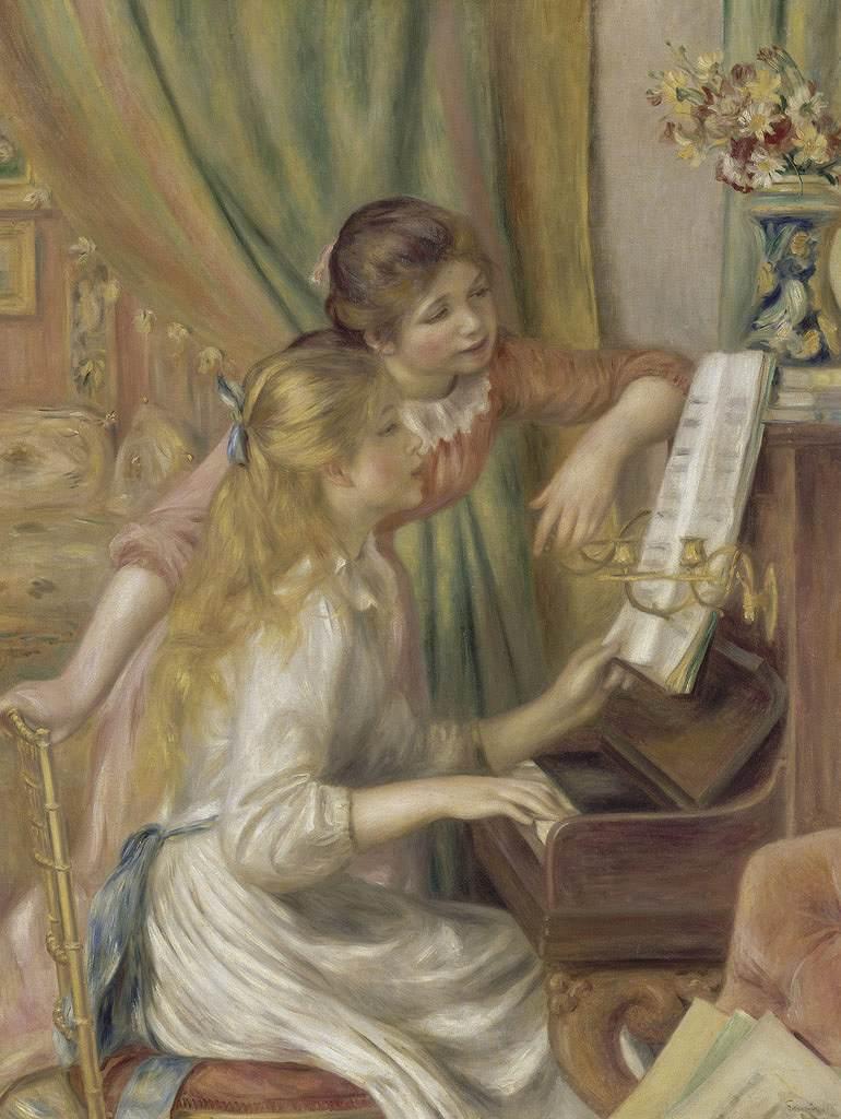 ピエール=オーギュスト・ルノワール ピアノの前の少女たち P30サイズ P30号 910x653mm 条件付き送料無料 絵画 インテリア 額入り 壁掛け複製油絵ピエール=オーギュスト・ルノワール
