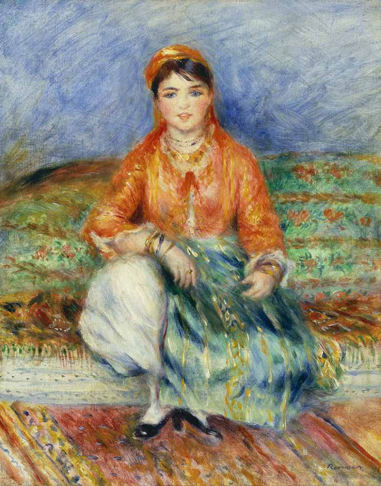 油絵 油彩画 絵画 複製画 ピエール=オーギュスト・ルノワール アルジェリアの娘 F10サイズ F10号 530x455mm すぐに飾れる豪華額縁付きキャンバス