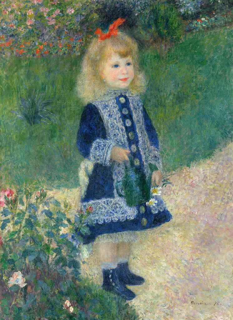 油絵 油彩画 絵画 複製画 ピエール=オーギュスト・ルノワール じょうろを持った少女 P10サイズ P10号 530x410mm すぐに飾れる豪華額縁付きキャンバス