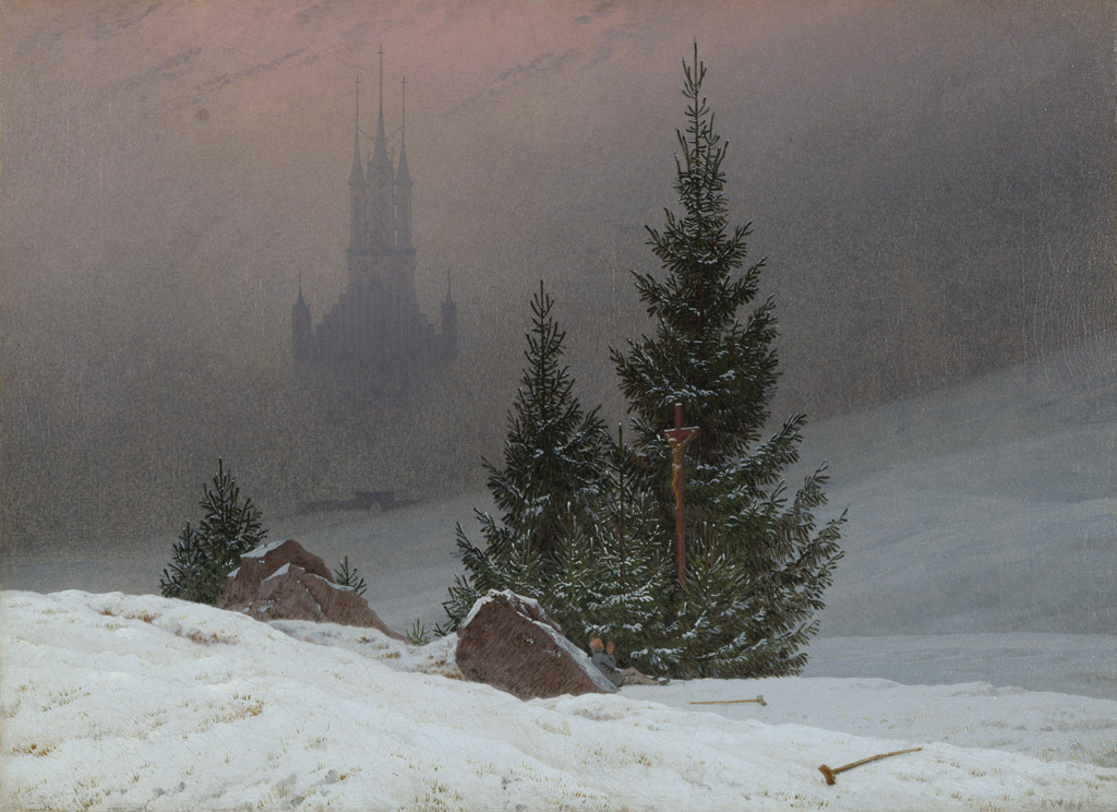 【送料無料】絵画 油彩画複製油絵複製画/カスパー・ダーヴィト・フリードリヒ 教会のある冬の風景 F15サイズ 808x686mm 【すぐに飾れる豪華額縁付 キャンバス】