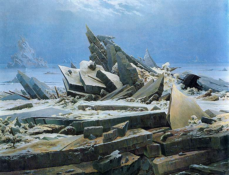 絵画 インテリア 額入り 壁掛け複製油絵カスパー・ダーヴィト・フリードリヒ 氷の海 F20サイズ F20号 727x606mm 絵画 インテリア 額入り 壁掛け 油絵