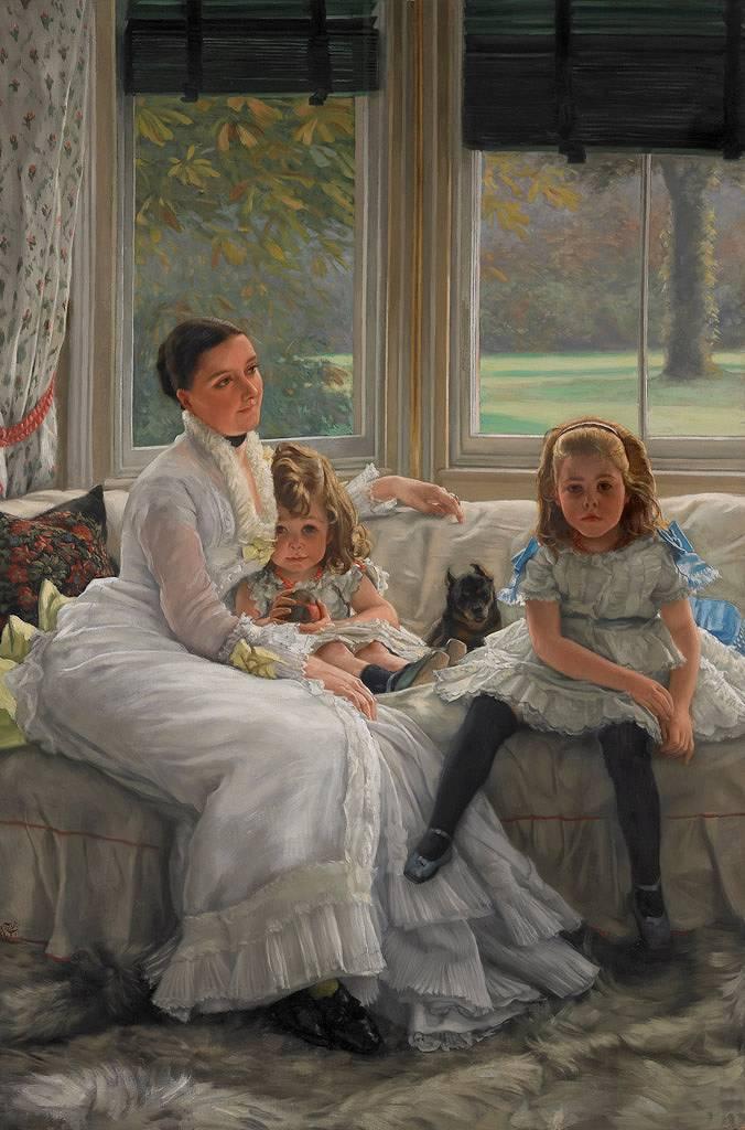 ジェームズ・ティソ キャサリン・スミス・ジル夫人と二人の子供たち M30サイズ M30号 910x606mm 条件付き送料無料 絵画 インテリア 額入り 壁掛け複製油絵ジェームズ・ティソ