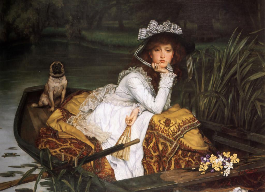 【送料無料】絵画 油彩画複製油絵複製画/ジェームズ・ティソ ボートの若い女性 F10サイズ 686x611mm 【すぐに飾れる豪華額縁付 キャンバス】