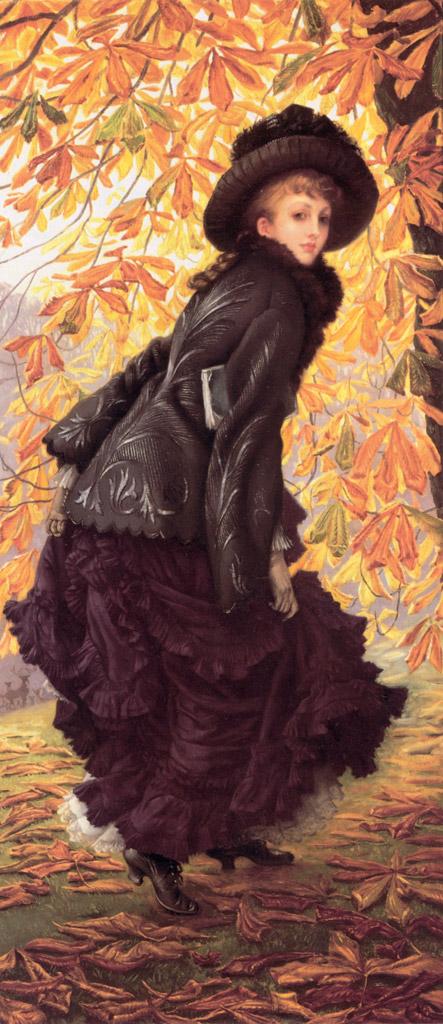 【送料無料】絵画 油彩画複製油絵複製画/ジェームズ・ティソ 十月 F30サイズ 910x727mm 【すぐに飾れる豪華額縁付 キャンバス】