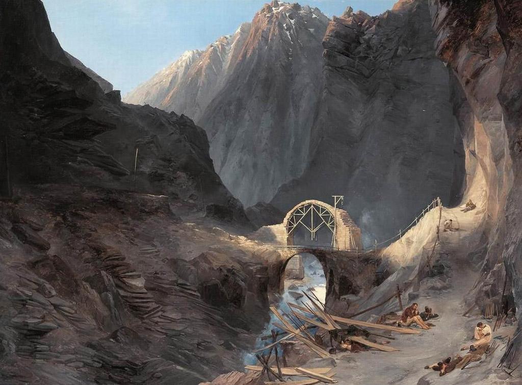 【送料無料】絵画 油彩画複製油絵複製画/カール・ブレッヒェン 悪魔の橋の建設 F10サイズ 686x611mm 【すぐに飾れる豪華額縁付 キャンバス】